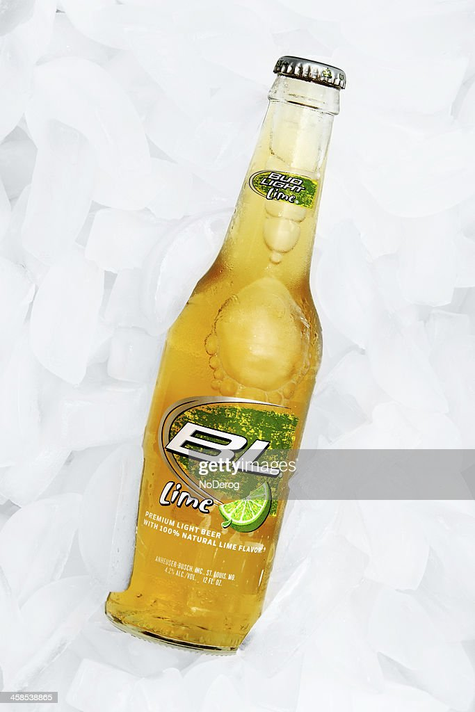 Bud Light Lime Beer On Ice. : Stock Photo