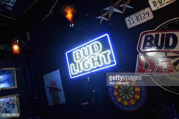 Bud Light products on display during the Bud Light X Lady Gaga Dive Bar Tour at The 5 Spot on October 5, 2016 in Nashville, Tennessee.