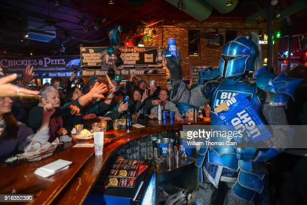 Bud Light's Bud Knight hands out Bud Light beer at Chickie's and Pete's February 8, 2018 in Philadelphia, Pennsylvania.