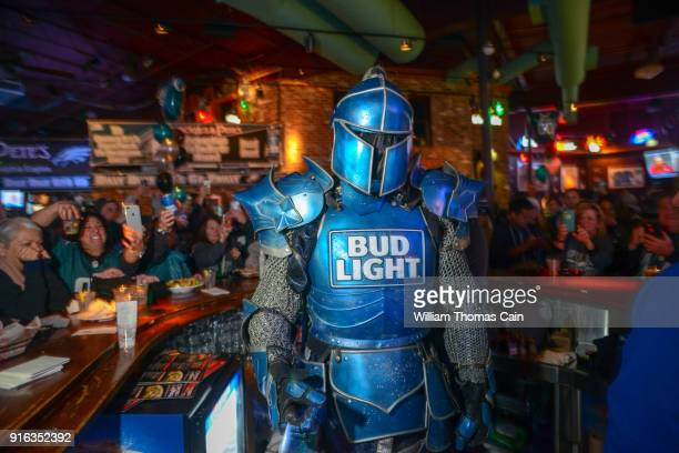 Bud Light's Bud Knight poses for a photo after handing out Bud Light beer at Chickie's and Pete's February 8, 2018 in Philadelphia, Pennsylvania.