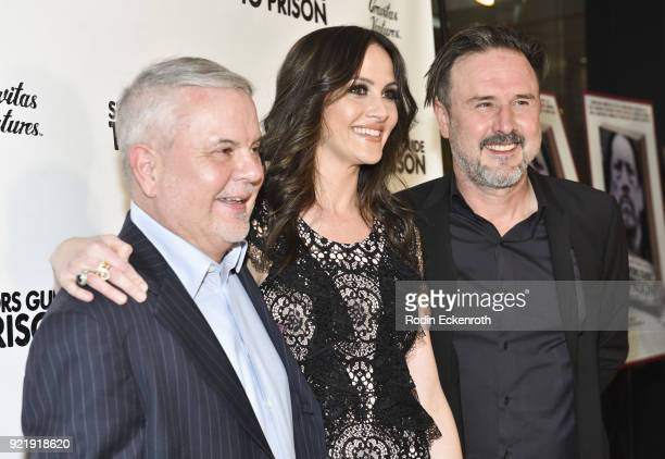 Bud McLarty Christina Arquette and David Arquette attend the premiere of Gravitas Pictures' 'Survivors Guide To Prison' at The Landmark on February...