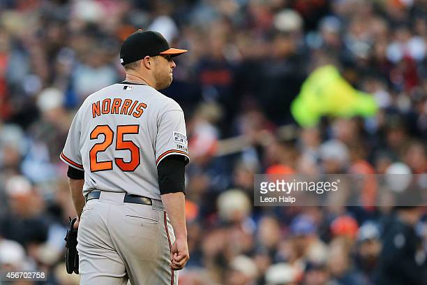 Bud Norris of the Baltimore Orioles leaves the game in the seventh inning against the Detroit Tigers during Game Three of the American League...