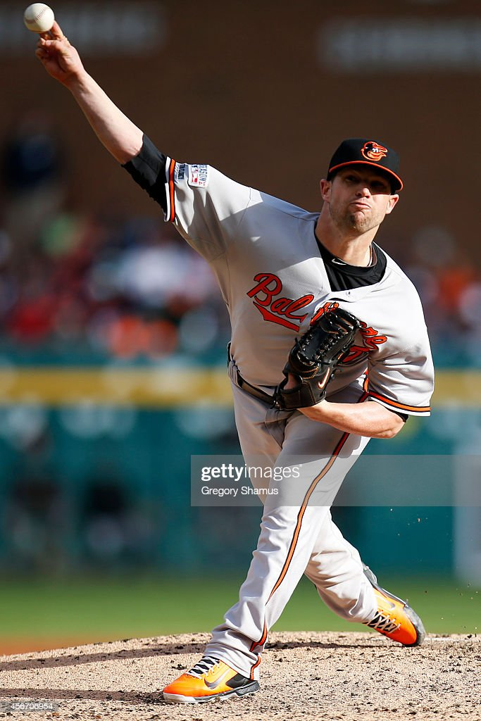 Bud Norris #25 of the Baltimore Orioles pitches against the Detroit Tigers during Game Three of the American League Division Series at Comerica Park on October 5, 2014 in Detroit, Michigan.