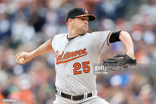Bud Norris of the Baltimore Orioles pitches in the first inning against the Detroit Tigers during Game Three of the American League Division Series...