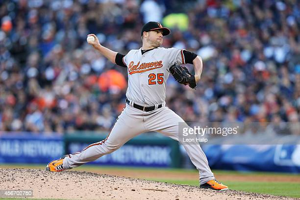 Bud Norris of the Baltimore Orioles pitches in the seventh inning against the Detroit Tigers during Game Three of the American League Division Series...