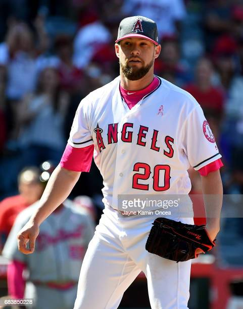 Bud Norris of the Los Angeles Angels earns a save in the game against the Detroit Tigers at Angel Stadium of Anaheim on May 14 2017 in Anaheim...