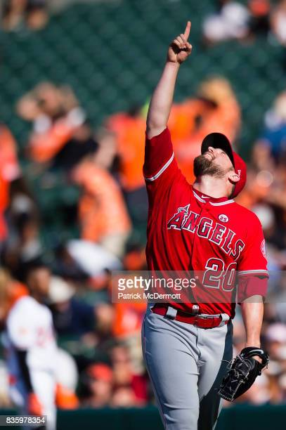Bud Norris of the Los Angeles Angels of Anaheim celebrates after the Angels defeated the Baltimore Orioles 54 during a game at Oriole Park at Camden...