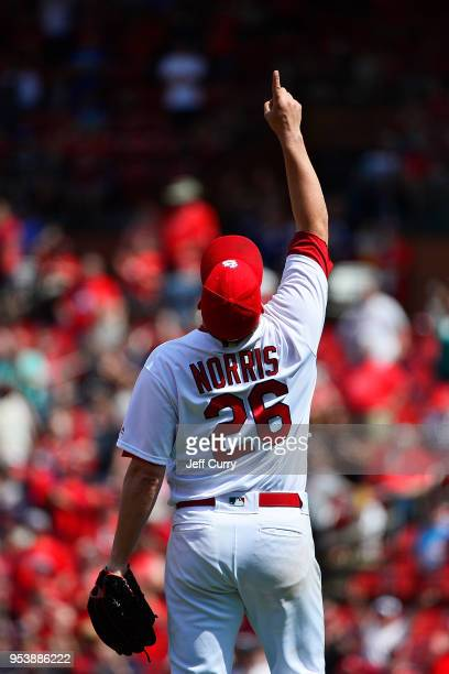 Bud Norris of the St Louis Cardinals celebrates after closing out the ninth inning against the Chicago White Sox at Busch Stadium on May 2 2018 in St...