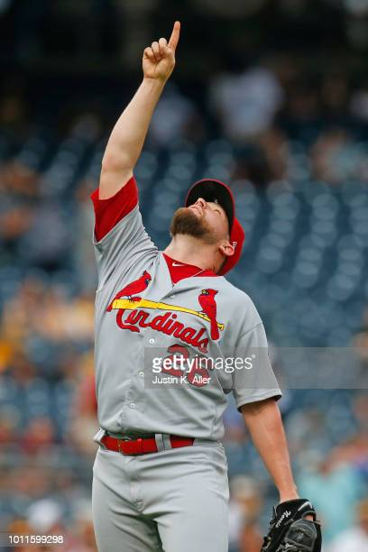 Bud Norris of the St Louis Cardinals celebrates after winning against the Pittsburgh Pirates at PNC Park on August 5 2018 in Pittsburgh Pennsylvania