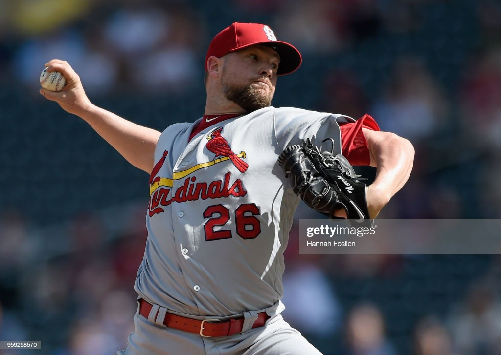 Bud Norris #26 of the St. Louis Cardinals delivers a pitch against the Minnesota Twins during the ninth inning of the interleague game on May 16, 2018 at Target Field in Minneapolis, Minnesota. The Cardinals defeated the Twins 7-5.