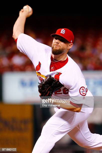 Bud Norris of the St Louis Cardinals delivers a pitch against the San Diego Padres in the ninth inning at Busch Stadium on June 11 2018 in St Louis...