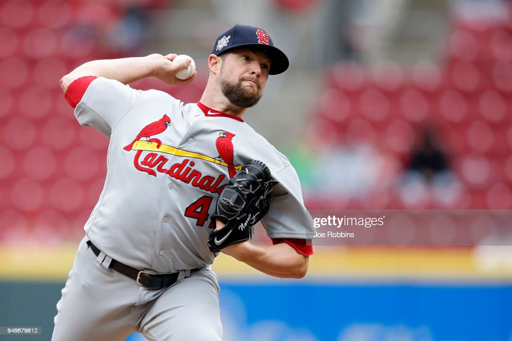 Bud Norris #26 of the St. Louis Cardinals pitches in the ninth inning of the game against the Cincinnati Reds at Great American Ball Park on April 15, 2018 in Cincinnati, Ohio. The Cardinals won 3-2. All players are wearing #42 in honor of Jackie Robinson Day.