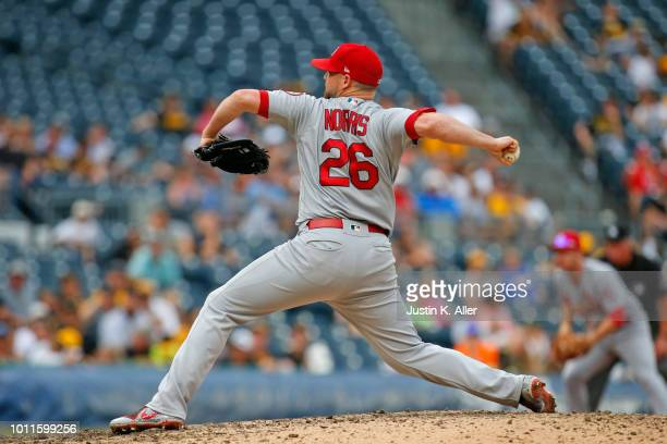 Bud Norris of the St Louis Cardinals pitches in the ninth inning against the Pittsburgh Pirates at PNC Park on August 5 2018 in Pittsburgh...