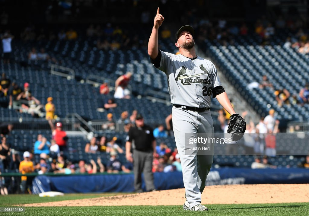Bud Norris #26 of the St. Louis Cardinals reacts after the final out in a 6-4 win over the Pittsburgh Pirates at PNC Park on May 27, 2018 in Pittsburgh, Pennsylvania.