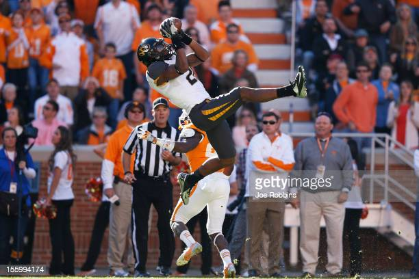 Bud Sasser of the Missouri Tigers makes a 40-yard reception against the Tennessee Volunteers during the game at Neyland Stadium on November 10, 2012...