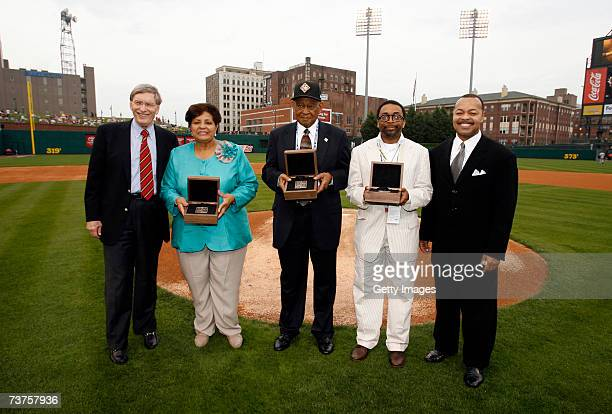 Bud Selig, commisioner of Major League Baseball, Vera Clemente, wife of Roberto Clemente, Don Motley, Executive director of Negro League Museum,...