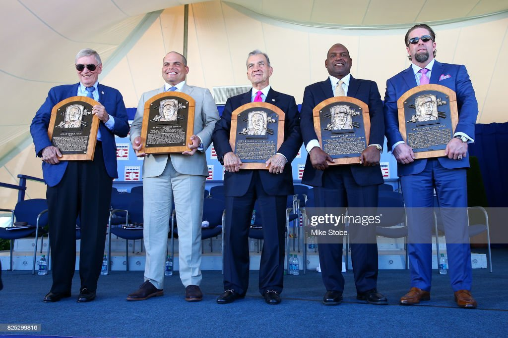 Bud Selig, Ivan Rodriguez, John Schuerholz, Tim Raines and Jeff Bagewell pose for a photo at Clark Sports Center during the Baseball Hall of Fame induction ceremony on July 30, 2017 in Cooperstown, New York.