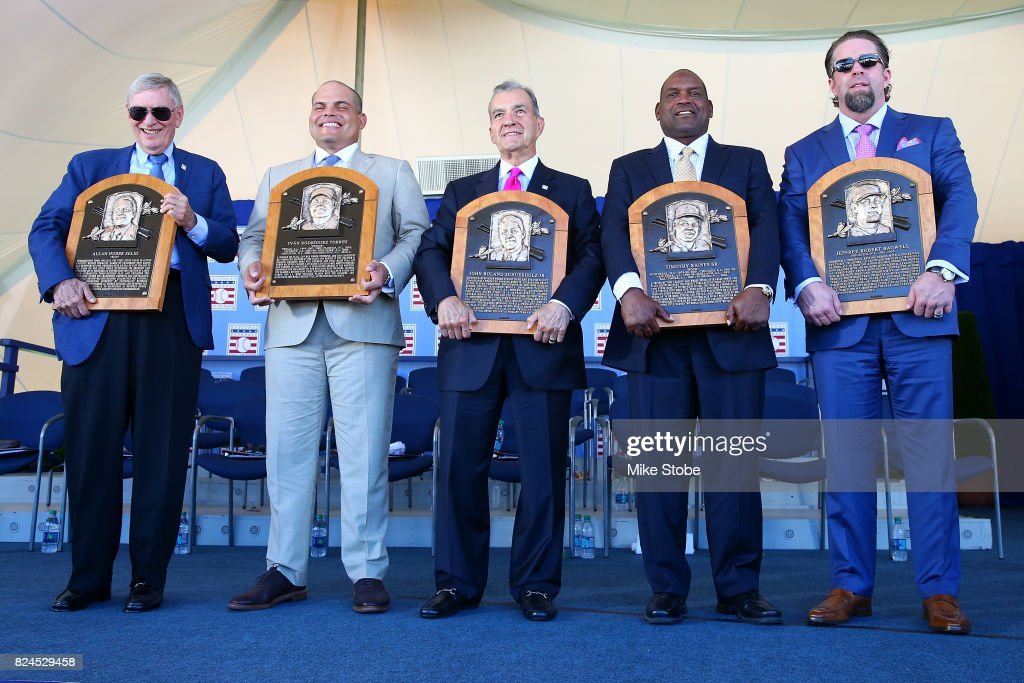 Bud Selig, Ivan Rodriguez, John Schuerholz, Tim Raines and Jeff Bagwell pose for a photo at Clark Sports Center during the Baseball Hall of Fame induction ceremony on July 30, 2017 in Cooperstown, New York.