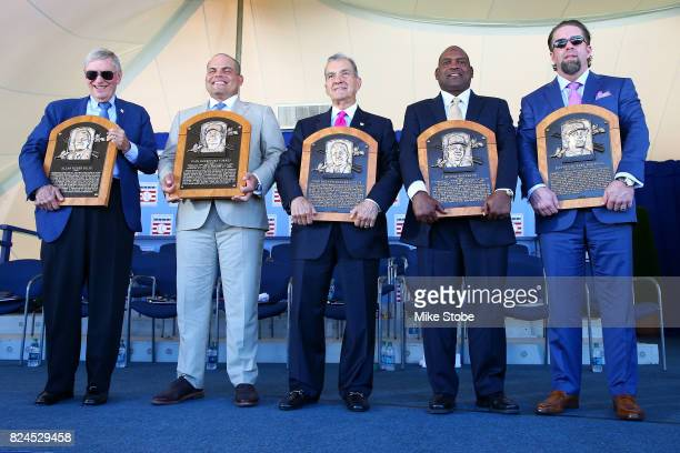 Bud Selig Ivan Rodriguez John Schuerholz Tim Raines and Jeff Bagwell pose for a photo at Clark Sports Center during the Baseball Hall of Fame...