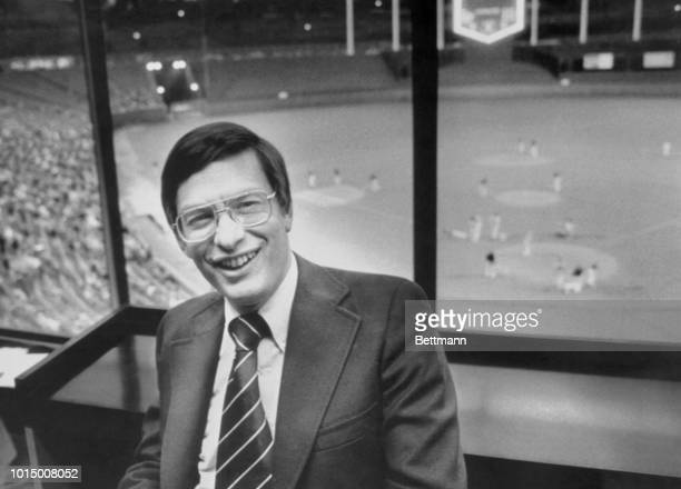 Bud Selig owner of the Milwaukee Brewers sits in the press box of the Kansas City Royals as his team prepared to take the field against the AL West...