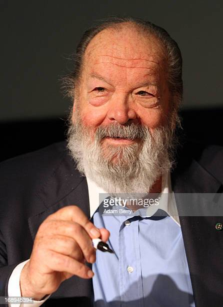 Bud Spencer Italian actor film producer pilot and former professional swimmer signs copies of the German translation of his autobiography'Mein Leben...