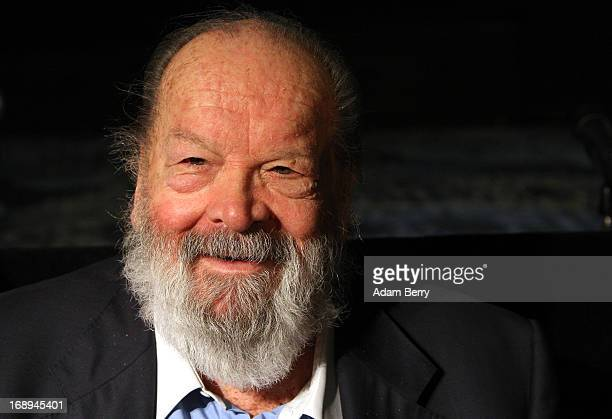 Bud Spencer Italian actor film producer pilot and former professional swimmer signs copies of the German translation of his autobiographyMein Leben...