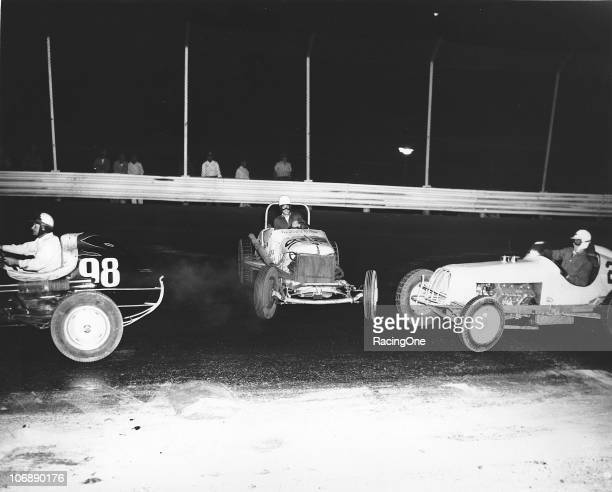 Bud Water spins out of control during a Sprint Car race at the Flat Rock Speedway