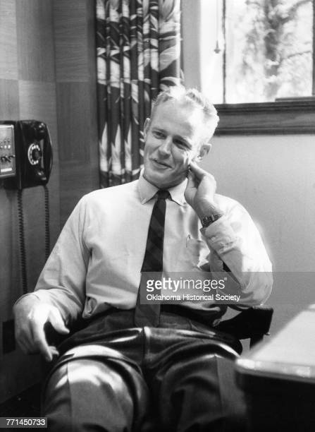 Bud Wilkinson , head football coach at the University of Oklahoma, in Norman, Oklahoma, circa 1955.