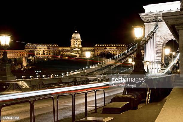 Buda Castle and Szechenyi Chain Bridge in Budapest.