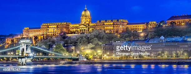 CONTENT] Buda Castle by the Danube river illuminated at night in Budapest Hungary