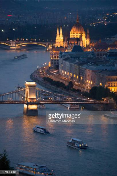 Budapest aerial cityscape with Chain Bridge over Danube river at night, Budapest, Hungary