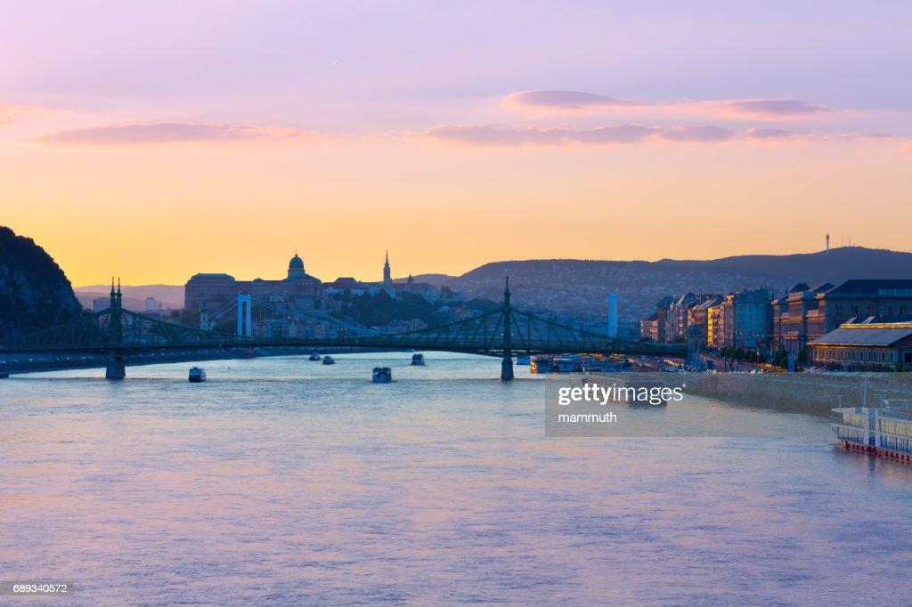 Budapest cityscape at dusk with the Liberty and Elizabeth Bridges : Stock Photo
