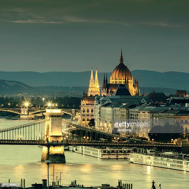 budapest cityscape with chain bridge and parliament - budapest stock pictures, royalty-free photos & images