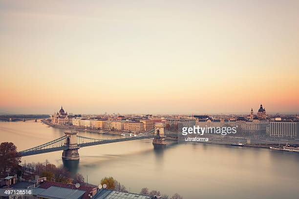 Budapest cityscape with Chain Bridge,  St Stephen's Basilica and Parliament