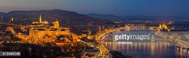 Budapest cityscape with Matthias Church, Chain Bridge and Parliament