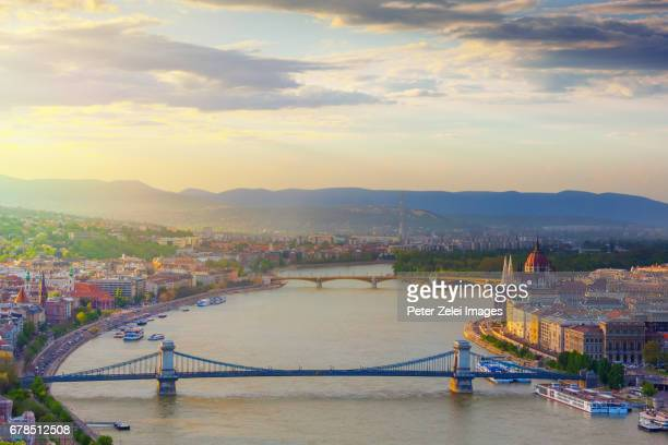 Budapest cityscape with the Chain Bridge and the Margaret Bridge at sunset
