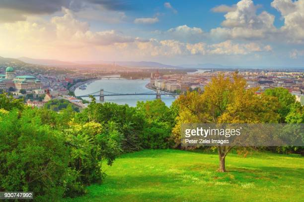 budapest cityscape with the danube river and the chain bridge - royal palace budapest stock pictures, royalty-free photos & images