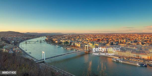 Budapest cityscape with the Elizabeth Bridge and the Chain Bridge at sunset