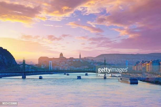 budapest cityscape with the liberty and elizabeth bridges at sunset - royal palace budapest stock pictures, royalty-free photos & images