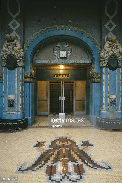 Budapest Door of the thermal baths of Gellert hotel unveiled in 1918 and built up in 1927