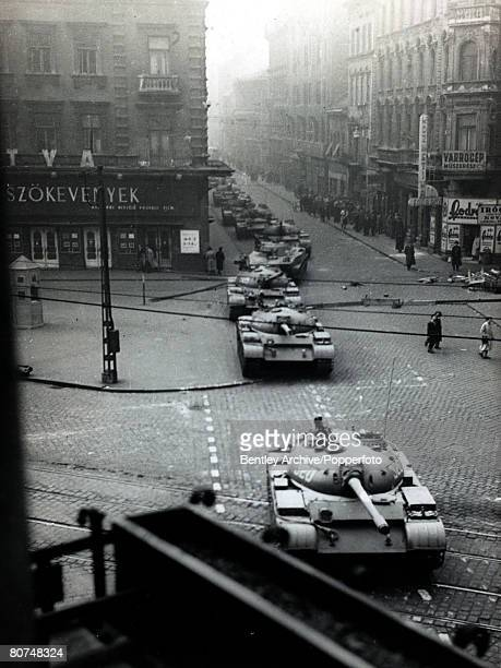 Budapest Hungary 26th October 1956 Soviet tanks on the streets of Budapest during the Hungarian Uprising