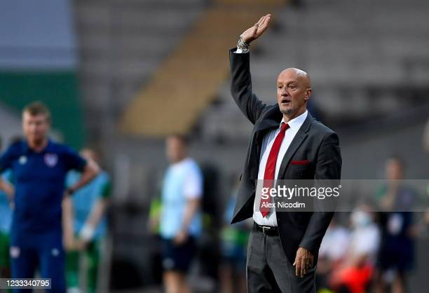 Budapest , Hungary - 8 June 2021; Hungary manager Marco Rossi during the international friendly match between Hungary and Republic of Ireland at...