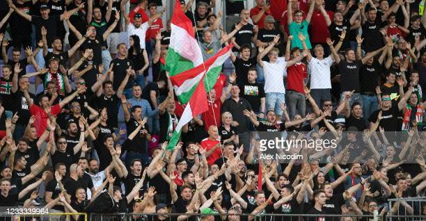 Budapest , Hungary - 8 June 2021; Hungary supporters during the international friendly match between Hungary and Republic of Ireland at Szusza Ferenc...