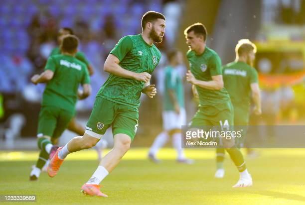 Budapest , Hungary - 8 June 2021; Matt Doherty of Republic of Ireland warms up before the international friendly match between Hungary and Republic...