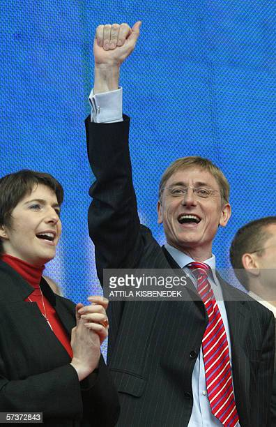 Accompanied by his wife Klara Dobrev Hungarian Prime Minister Ferenc Gyurcsany and the candidate from the Hungarian Socialists Party for the general...