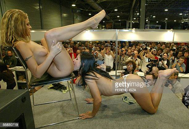 Hungarian porn stars Victoria Swinger and Vikki Rider perform sex for the visitors during the tenth annual Erotic Show and Fair in Budapest in the...