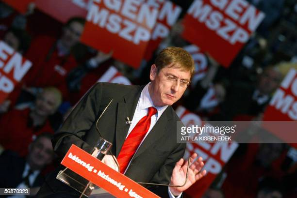 Hungarian Prime Minister Ferenc Gyurcsany gives a speech for the representatives of the Hungarian Socialist Party in the Syma Hall of Budapest 17...