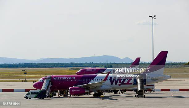 Budapest Hungary July 11 2015 Airbus A320 from Wizzair are seen in Ferihegy airport Wizz Air Holdings plc is a Hungarian lowcost airline with its...