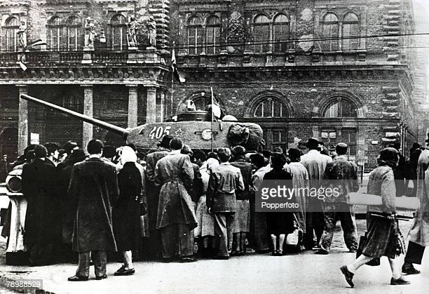 Budapest Hungary October 1956 Citizens surround a Soviet tank on the streets of Budapest during the Hungarian Uprising