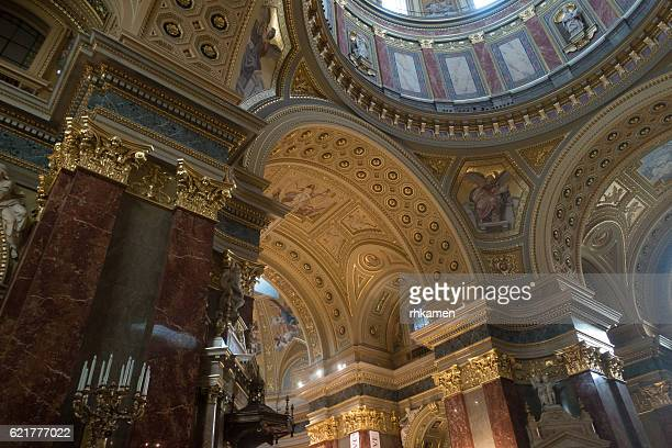 budapest, hungary. st. stephen's basilica - geometrical architecture stock photos and pictures
